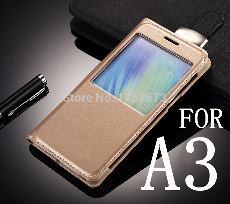 Flip Leather Skin Case for Samsung Galaxy A3 A300 A3000 A300F  New Back Cover Luxury View Window Case