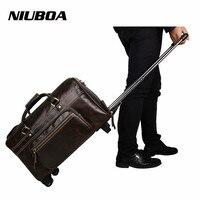 Genuine Leather Men Bags Natural Cowhide Travel Bags with Drawbar Fashion Business Bags Male Duffles Luggage Drawbar Bag