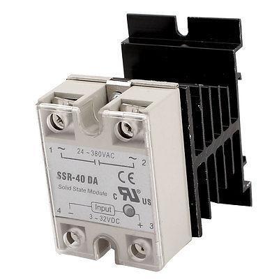 Single Phase SSR Solid State Relay 40A DC 3-32V AC 24-380V w Heat Sink high quality ac ac 80 250v 24 380v 60a 4 screw terminal 1 phase solid state relay w heatsink