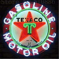 Texaco Gasoline Motor Oil Glass Tube Neon Sign Handcrafted Automotive Signs Beer Club Pub Shop Store