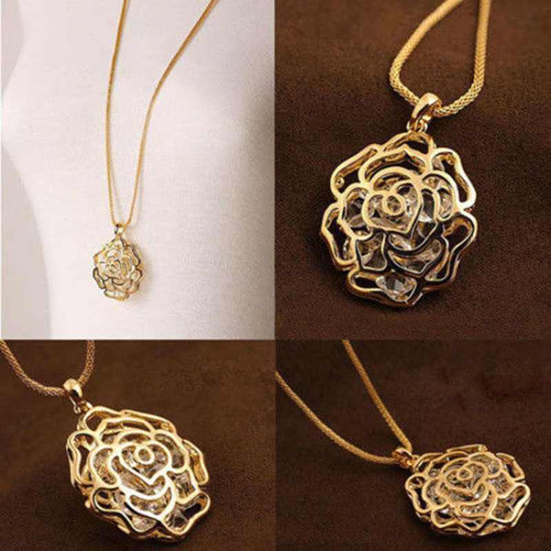 Women Charms Hollow Rose Flowers Design Pendant Rose Gold & Silver ...