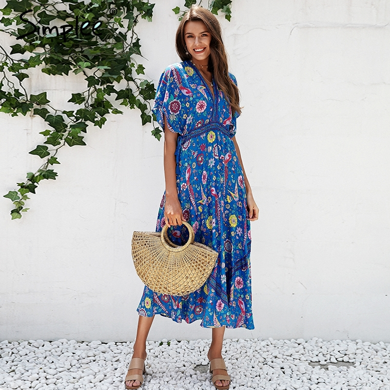 Simplee Sexy floral print blue maxi dress Half sleeve tie up ethnic dress women Deep V neck tassel long dress holiday 2018 stylish v neck half sleeve ethnic print women s dress