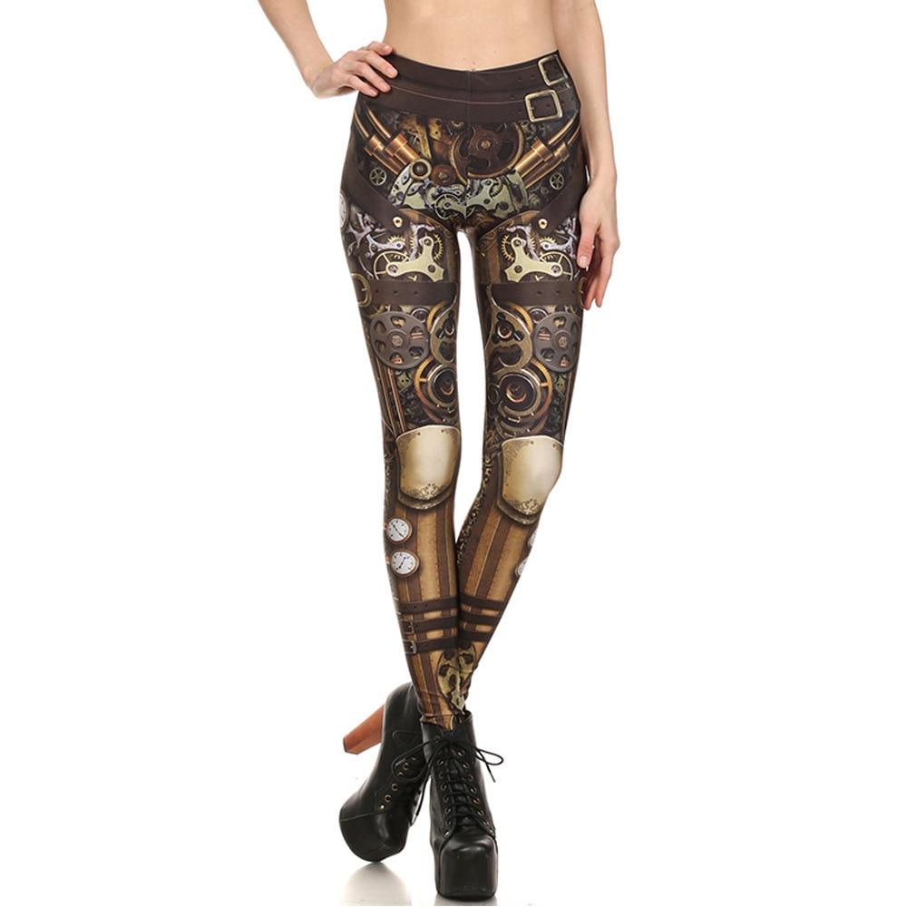 Steampunk Mechanical Gear Print Leggings Women High Waist Fitness Leggings Elastic Sexy Causal Leggings Plus Size Leggins Mujer