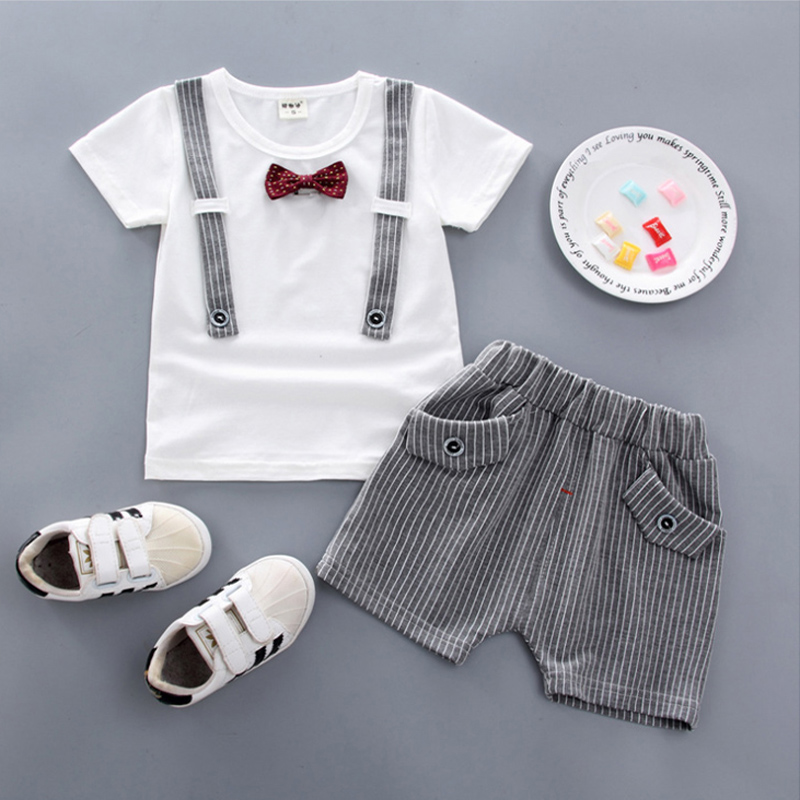 27089facf3df9 1 year birthday baby boy baby summer clothing set outfits T shirt top + shorts  gentleman
