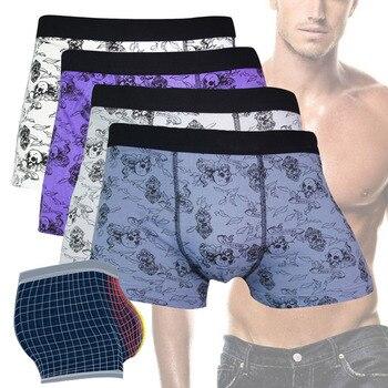 Men Underwear Boxers Cotton Sexy Shorts Funny Skull Male Comfortable Underpants -Y107 skull underwear boxer men