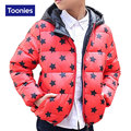 2016 Winter White Down Coat Star Pattern Boys Down Jacket Fashion Zipper Outwear Warm Unisex Coat Hooded Parka Childrens Clothes