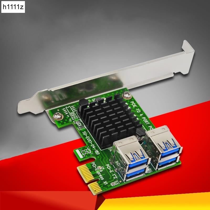 PCIE 1 to 4 USB3.0 PCI Express Riser Card External 4 PCI-E Slot Adapter Converter PCIe Port Multiplier Riser Card For BTC Mining pci express pci e to pci bus riser card high efficiency adapter converter z09 drop ship