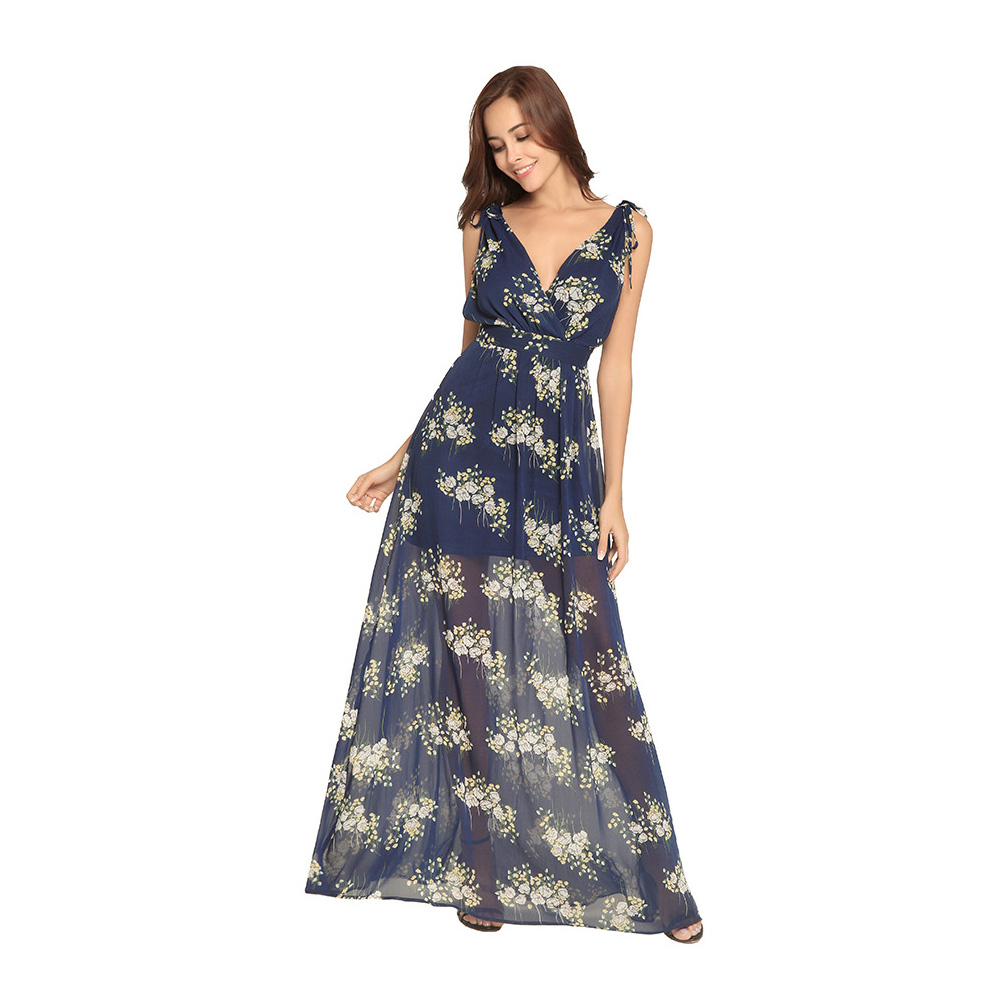Summer Women Sexy Dress Deep V Neck Sleeveless Backless Floral printed Beach Casual Maxi Dresses H9