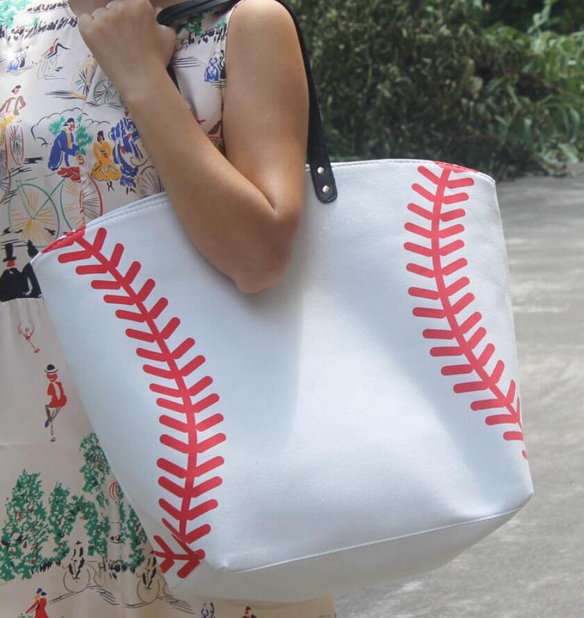 Yellow Softball White Baseball Bags 30pcs Jewelry Packaging Blanks Kids Cotton Canvas Sports Bags Baseball Softball Tote Bag