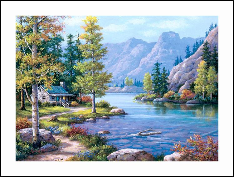 Вышивка крестом горы и озеро