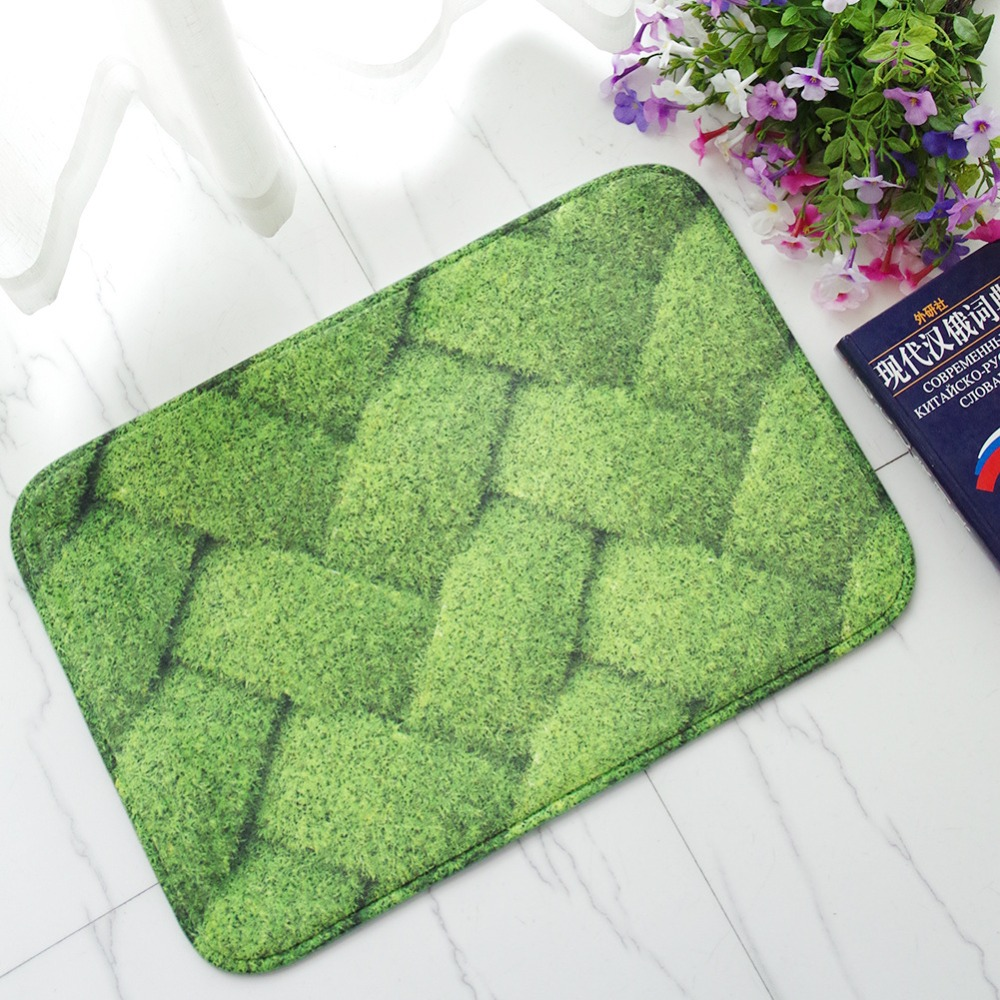 MDCT 40x60cm Green Straw Knot Area Floor Mats Hallway Bathroom Doorway Kitchen Soft Mats ...