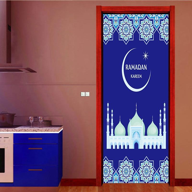 Muslim Islam Religious Wall Door Stickers Fake Door Pattern Living Room Wall Stickers Home Decor Wall Decal Home in Wall Stickers from Home Garden