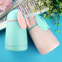 300ml Cute Thermos Cup Mini Cartoon Vacuum Flask Candy Color Kids Thermos Water Bottle For Children