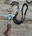 Druzy Necklace Lava Stone Dzi Agate With Gilded Druzy Long Tassel Necklace Women Drusy Pendant Knot Beads Necklace