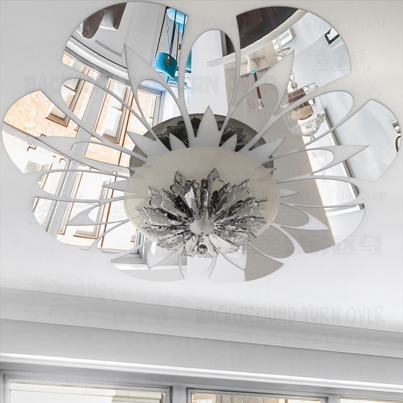 Moderna Flor Decorativa 3D Pegatinas de Pared de Espejo de Techo Sala - Decoración del hogar