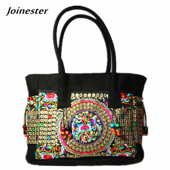 Floral Embroider Women Shoulder Bag Ethnic Canvas Handbags Ladies Large Shopping Hand Tote with Beading Woman Vintage Handbag цена 2017
