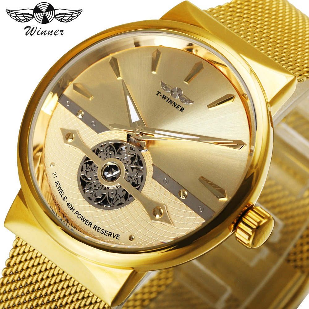 WINNER Ultra Thin Men Watch Automatic Mechanical Golden Mesh Strap Fortune Skeleton Dial FORSINING Wristwatch Gift of Best Bless winner men fashion cool black automatic mechanical watch rubber strap skeleton dial automatic dial design sport style wristwatch
