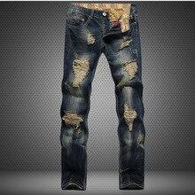 هول متروجنسي مستقيم دمرت الجينز العلامة التجارية سليم عادية ممزق جينز أوم ريترو الرجال سراويل جينز عالية الجودة القطن