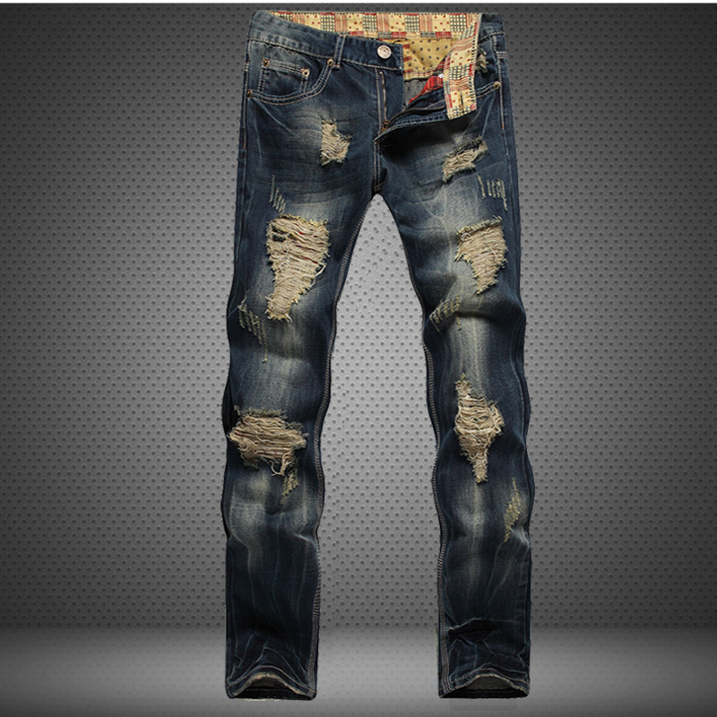 Hole Metrosexual Straight Destroyed Jeans Brand Slim Casual Ripped Jeans Homme Retro Men's Denim Trousers High Quality Cotton