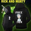 Hot New Rick y Morty Con Capucha Logo Invierno JiaRong Fleece Para Hombre Sudaderas Envío Libre