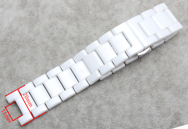 watchband Ceramic white watchbands  16mm 20mm Strap Concave interface Solid Links