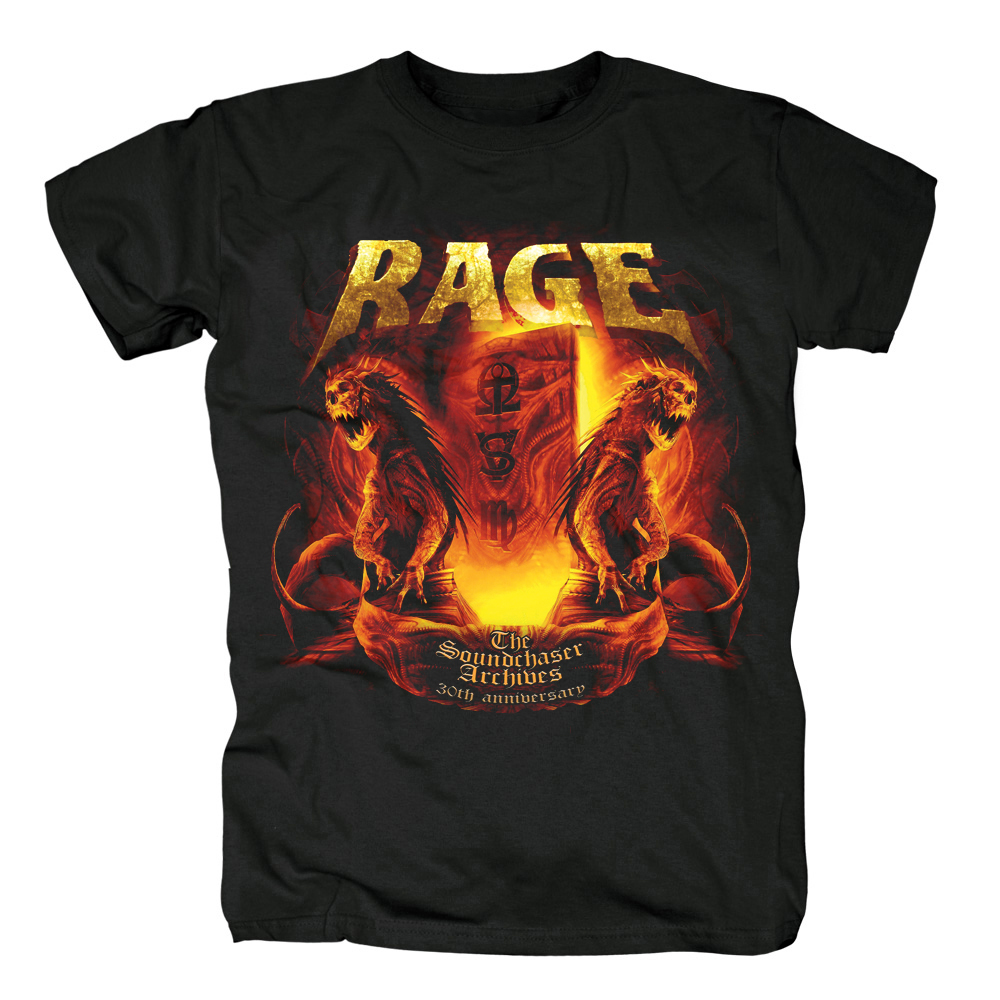 Bloodhoof Metal Hammer RAGE-BLACK IN MIND album cover Heavy Metal Thrash power metal top black T-shirt in summer Asian Size image