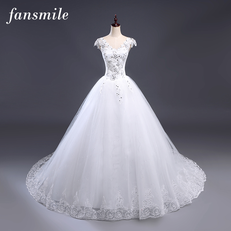 Fansmile Cheap Free Shipping Plus Size Lace Train Ball Wedding Dress 2019 Vintage Gown Vestidos Noiva Robe De Mariee Under $100