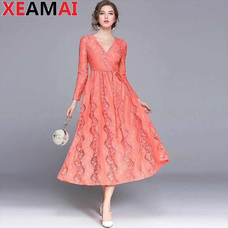 2018 Printemps Col V Femmes Vintage Élégant Floral Fleur Dentelle Mince Lâche plus la taille bandage Parti Robe rose maxi robe bureau