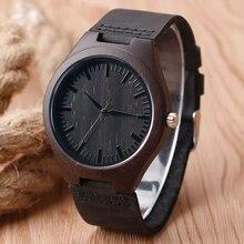 Nueva Llegada Negro Reloj de los Deportes de Los Hombres de Madera de Bambú Natural Simple Reloj de Cuarzo Hombre Reloj Casual Con Cuero Genuino