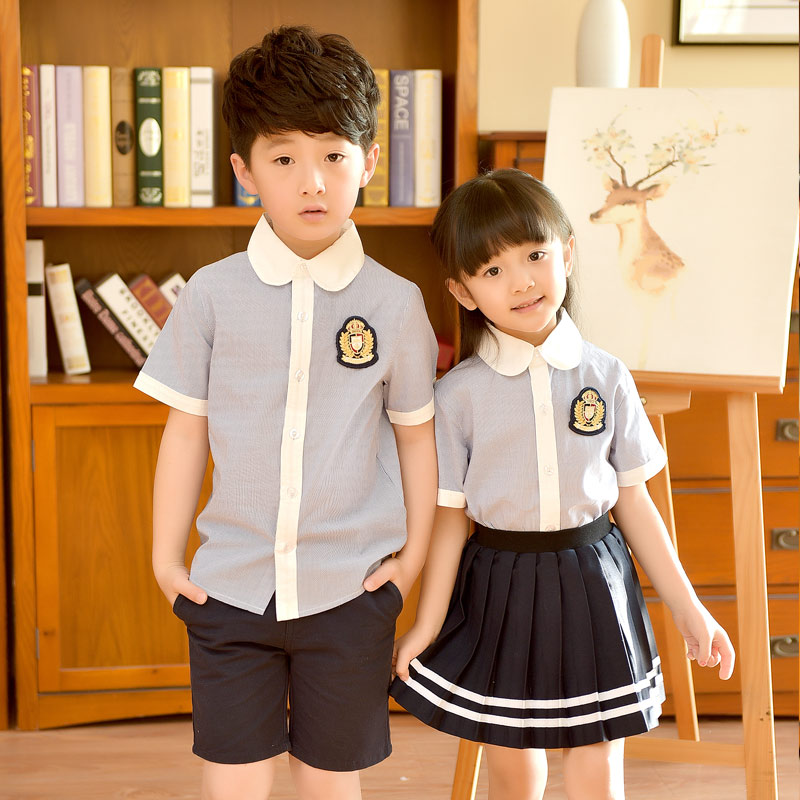 2018 New Kindergarten Children's Short-sleeved Suit School Uniform Shirts Skirts Two Sets Boys Girls School Uniforms 2-10T