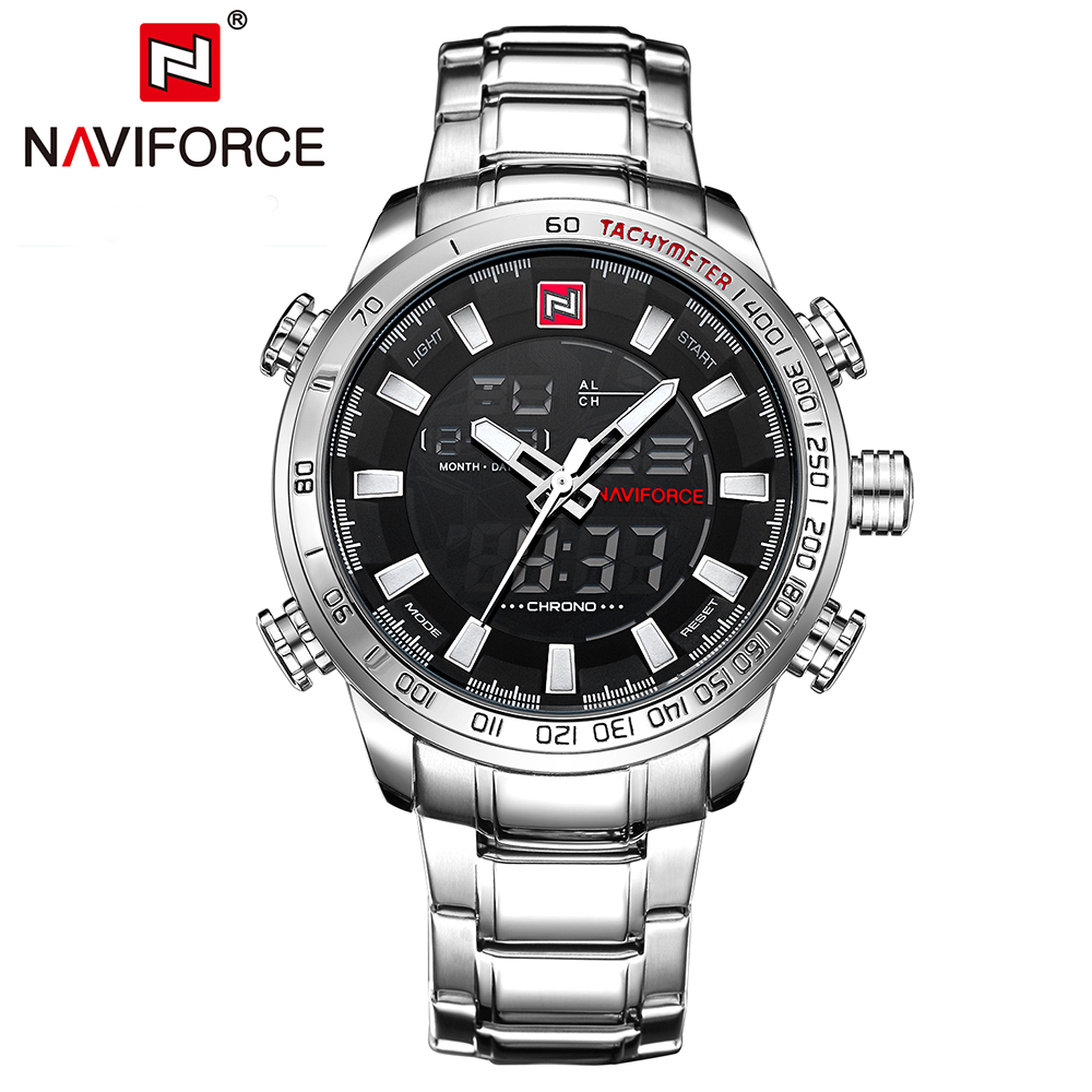 2018 Men's Watches NAVIFORCE Luxury Brand Men Military Sport Watches LED Digital Quartz Clock Full Steel Waterproof Wrist Watch