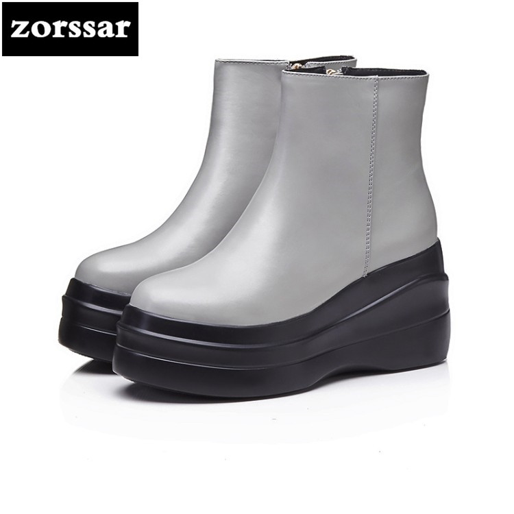{Zorssar} 2018 New arrival fashion High heel Boots ankle Women Martin boots Genuine Leather platform boots Winter women shoes