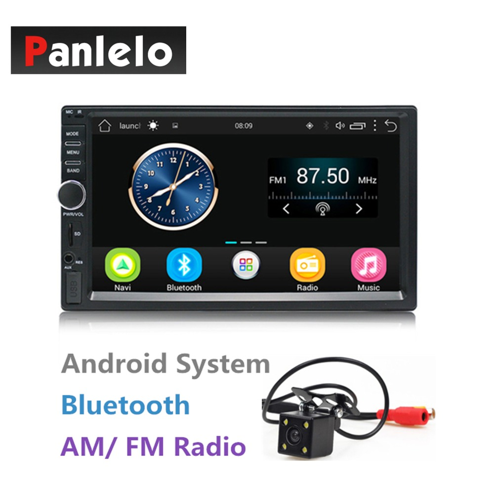 2 Din Android Car Stereo 7 Inch Touch Screen 1024*600 Quad Core 1GB+16GB Autoradio Bluetooth/Wifi/AM/FM/USB/AUX/Rear Camera double din android 6 0 quad core 1gb 16gb car stereo 7 inch 1024x600 touch screen head unit gps navigation bluetooth wifi am fm
