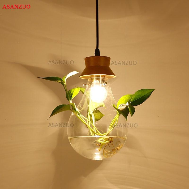Modern Plant Pendant Light Wood Glass Bottle Decor Restaurant Bar Cafe Living Room Study Lighting LED Pendant Hang Lamp in Pendant Lights from Lights Lighting