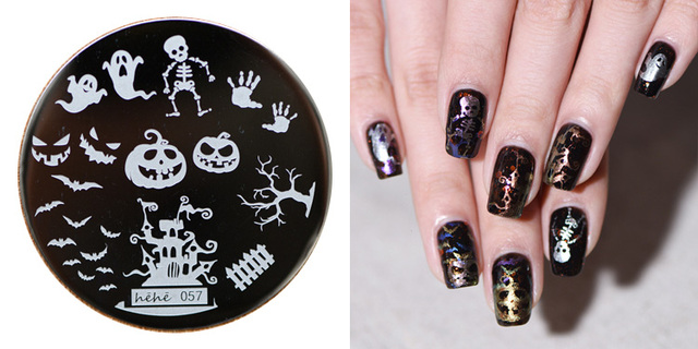 New Stamping Plate Hehe57 Horrible Pumpkin Skull Ghost Bats Nail Art Stamp Template