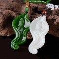 Linda Natural Verde Jade Branco Esculpido GuanYin Amuleto Da Sorte Pingentes Colar Moda Jóias