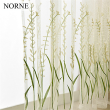 NORNE Embroidered Semi White Tulle Sheer Lace Curtains for Bedroom Living Room Kitchen Door Window Curtain Drape Panels Voiles norne embroidered semi white voiles peacock feathers tulle sheer curtains for living room kitchen drape treatment for bedroom