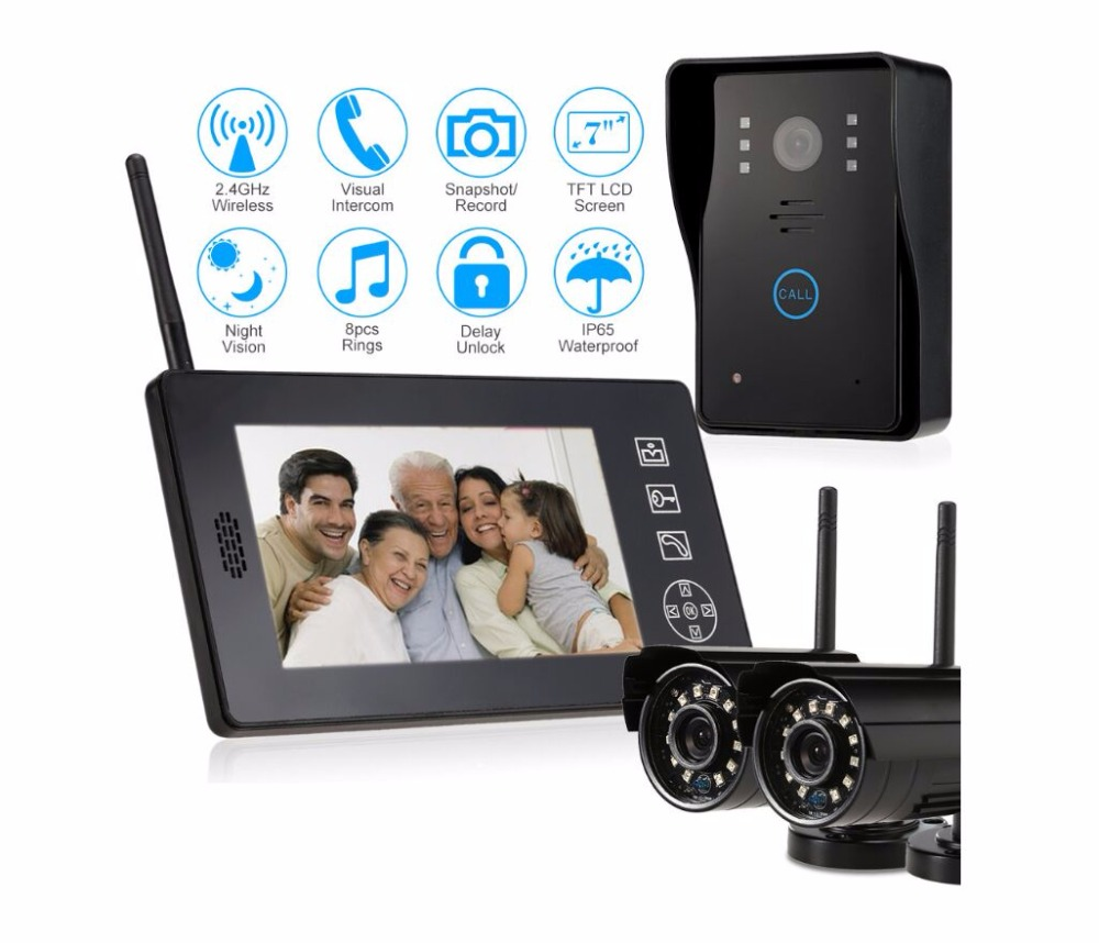 2ch 2.4G wireless video door phone system for home office security APP unlock door / two way intercom safer wifi phone
