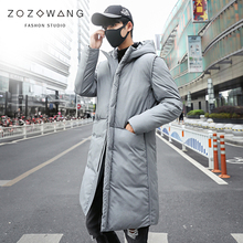 new 2018 Long Thick Winter Coat Men jacket Black Solid Warm thick Hooded Jacket Male Quality Parkas plus size long Jacket 5XL 2017 thick warm men winter coat down jacket for men waterproof collar long parkas hooded coat male parkas size s 3xl cm593