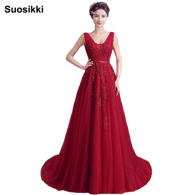 Ново пристигане секси парти вечерни рокли дълги рокли Vestido де феста A - линия апликации плетене рокля V - образно деколте рокля безплатна доставка  t