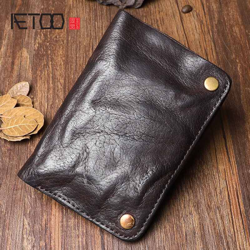 Original Handmade Wrinkle Wallet Leather Genuine Cow Leather Vertical Mens Wallets Retro Money Clips Short Billfold