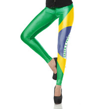 KDK1526 Sexy Girl national flag of Brazil Printed Elastic Slim Fitness Women Jogging Sport Yoga Leggings Pants Trouser