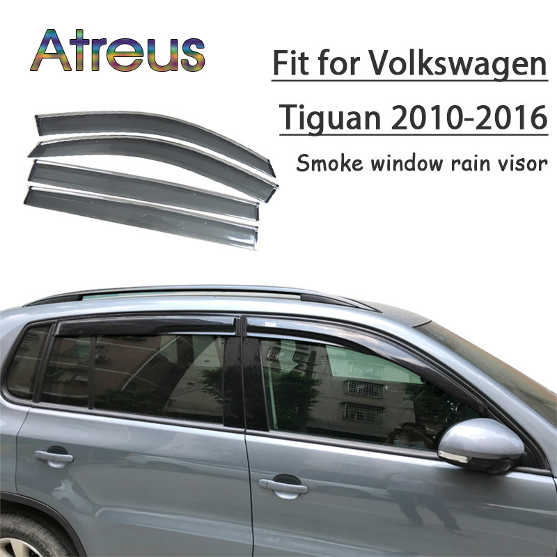 Atreus 1set ABS For 2016 2015 2014 2013 2012-2010 VW Tiguan Accessories Car Vent Sun Deflectors Guard Smoke Window Rain Visor chrome stris window visor sun shade vent guard deflector for mitsubishi asx rvr outlander sport 2010 2011 2012 2013 2014 2015