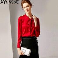 2019 Spring Summer Women's Shirt Long Sleeve Blouse Women Silk Shirts Ladies Top Vintage Womens Tops and Blouses Korean KJ1786