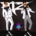 2016 New come fashion super star Korean male singer male DJ  blockb white black stripe big bow suit costumes