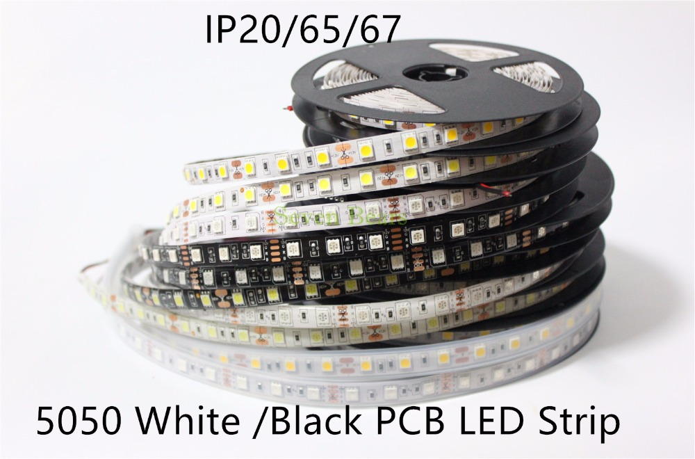 IP20/65/67 White / Black PCB DC12V Led Strip 5050 SMD 5M 300led 60led/M White/Warm White/RGB Flexible Led Ribbon Waterproof