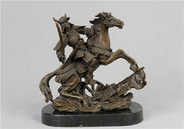 Artisanat cuivre classique Bronze Sculpture chevalier avec cheval de guerre statues figurnes militaire collectables souvenirs