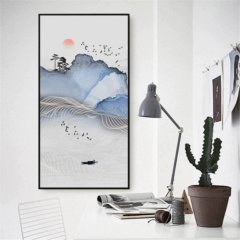 YongHe Home Decorative Spray Canvas Printing Chineses Ink Landsape boat on river Poster Wall Pictures For Decorate Living Room