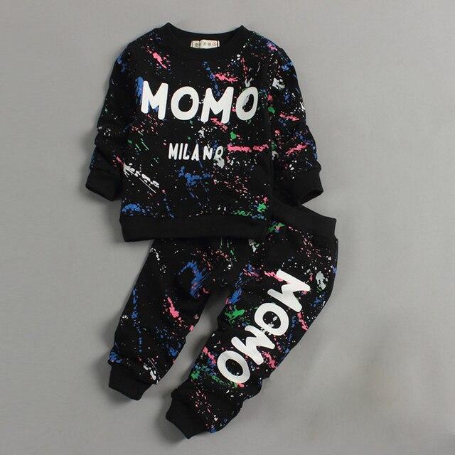 Малыш Девочка Одежда 2016 Весенняя Мода печати граффити дети костюм baby boy одежда Набор Младенческая дети хип-хоп одежды