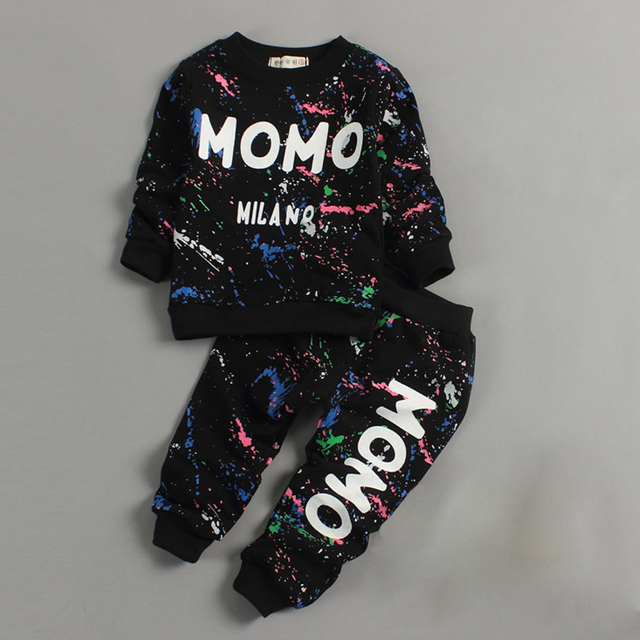 Toddler Girl Clothes 2016 Spring Fashion printing graffiti kids tracksuit baby boy clothes Set Infant children hip hop clothing